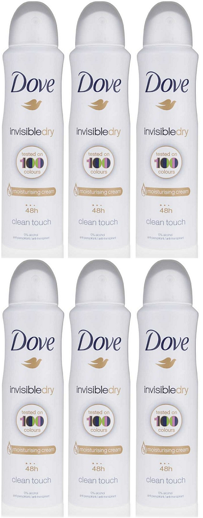 Dove Invisible Dry Clean Touch Anti-Perspirant Body Spray, 150 ml (Pack of 6)
