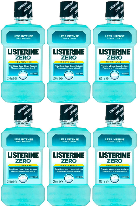 Listerine Antiseptic Mouthwash Zero, 250 ml (Pack of 6)