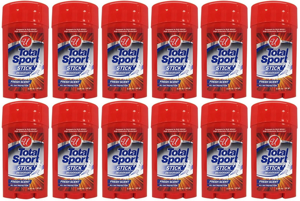 Total Sport Stick Deodorant Fresh Scent, 2.25 oz (Pack of 12)