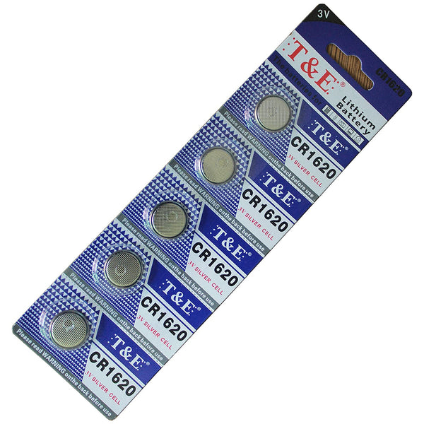 T&E CR1620 3V Silver Cell Lithium Battery, 5 Ct.