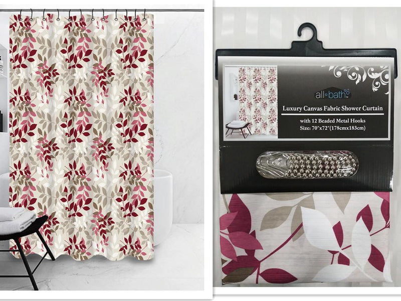 "Luxury Canvas Fabric Shower Curtain 70""x72"", w/ 12 Beaded Metal Hooks"
