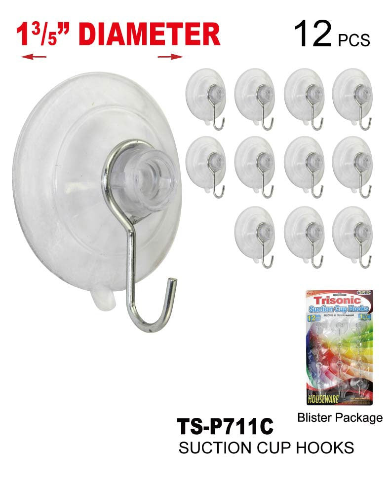 "1 3/5"" Diameter Suction Cup Hooks, 12-ct."