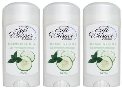 Soft Whisper by PowerStick Cucumber Green Tea Anti-Perspirant Deodorant, 2 oz. (Pack of 3)