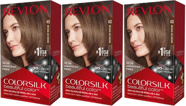 Revlon ColorSilk Beautiful Color™ Hair Color - 40 Medium Ash Brown (Pack of 3)