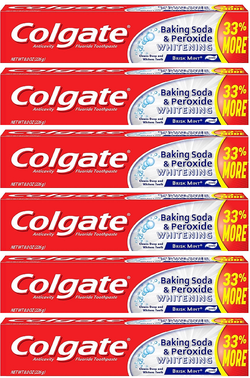 Colgate Baking Soda & Peroxide Whitening Brisk Mint Toothpaste, 8 oz (Pack of 6)