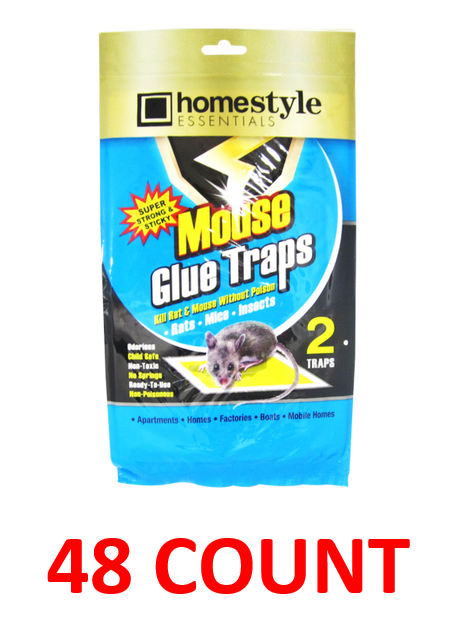 Homestyle Essentials Super Strong & Sticky Mouse Glue Traps, 48-ct.