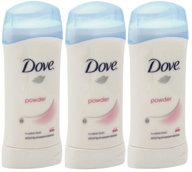 Dove Powder Invisible Solid Anti-Perspirant Deodorant, 2.6 oz. (Pack of 3)