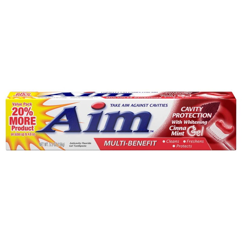 Aim Cavity Protection w/ Whitening Cinna Mint Gel Toothpaste, 5.5 oz