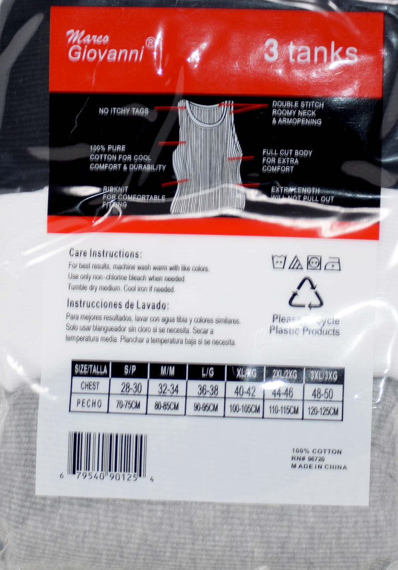 Marco Giovanni Assorted Sleeveless Tanks , Pack of 3
