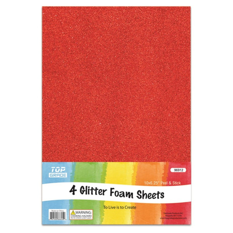 Glitter Foam Sheets Red, 4 ct.