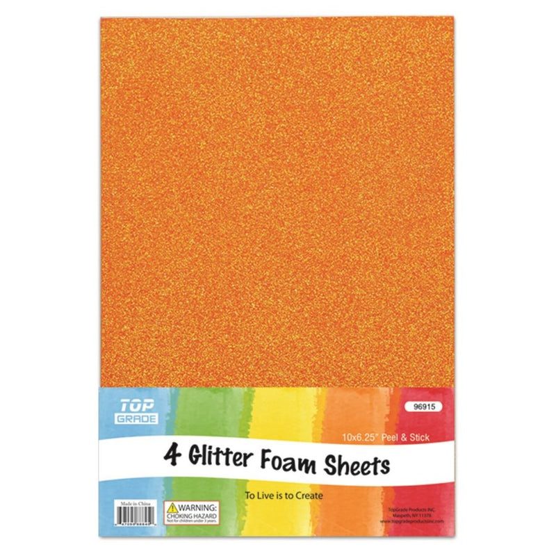 Glitter Foam Sheets Orange, 4 ct.