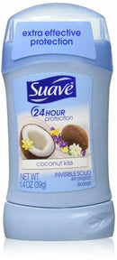 Suave Coconut Kiss 24 Hour Protection Invisible Solid Deodorant, 1.4 oz.