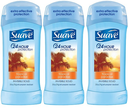 Suave Tropical Paradise Invisible Solid Deodorant, 2.6 oz. (Pack of 3)