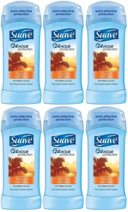 Suave Tropical Paradise Invisible Solid Deodorant, 2.6 oz. (Pack of 6)