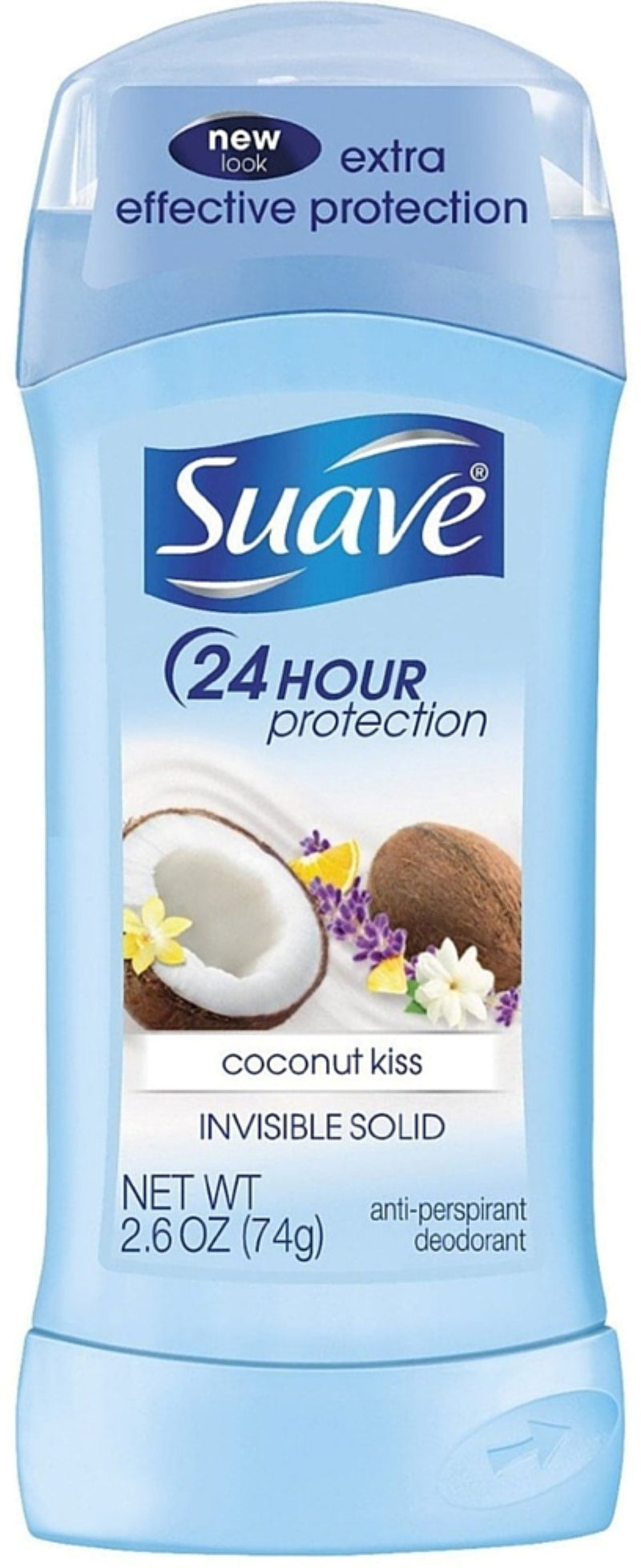 Suave Coconut Kiss 24 Hour Protection Invisible Solid Deodorant, 2.6 oz.