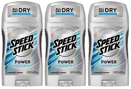 Speed Stick Power Unscented 24 Hour Protection Deodorant, 3 oz. (Pack of 3)
