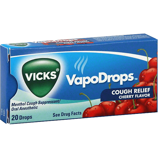 Vicks VapoDrops Cough Relief Cherry Flavor, 20 Drops