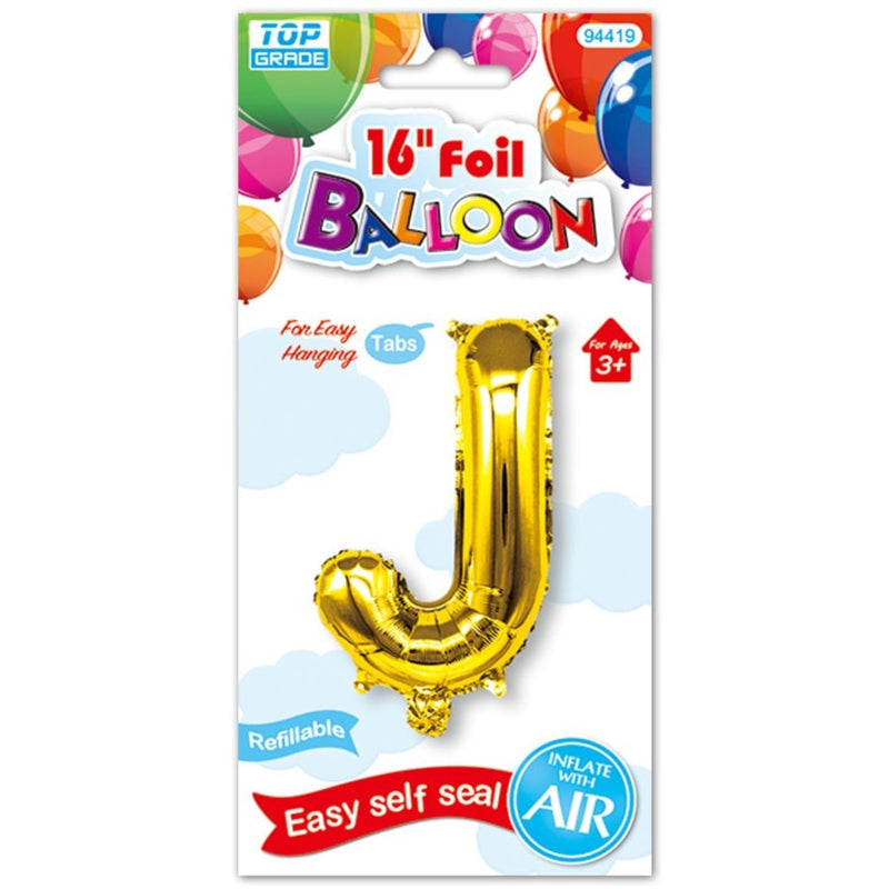 "16"" Foil Balloon Letter ""J"", 1-ct."