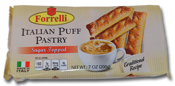 Forrelli Italian Puff Pastry Sugar Topped, Made in Italy, 7 oz.