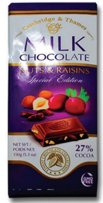 Cambridge & Thames Milk Chocolate Nuts & Raisins, Special Edition, 27% Cocoa, 5.3 oz.