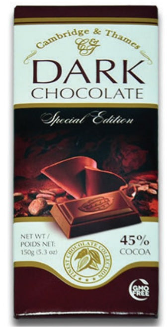 Cambridge & Thames Dark Chocolate, Special Edition, 45% Cocoa, 5.3 oz.