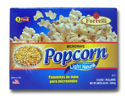 Forrelli Microwave Popcorn, Light Natural Flavor, 3 Bags of 2.6oz