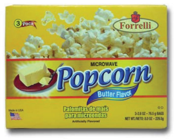 Forrelli Microwave Popcorn, Butter Flavor, 3 Bags of 2.6oz