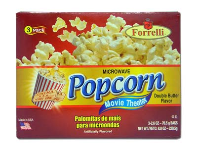 Forrelli Microwave Popcorn, Movie Theater Double Butter Flavor, 3 Bags of 2.6oz