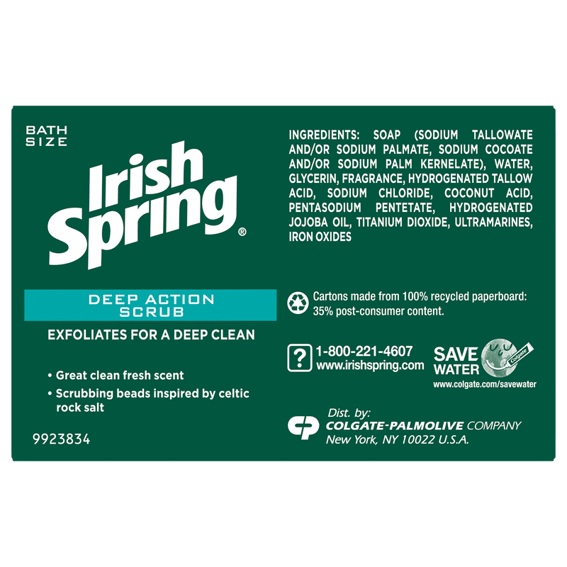 Irish Spring Deep Action Scrub Bar Soap, 3 pack 3.7 oz.