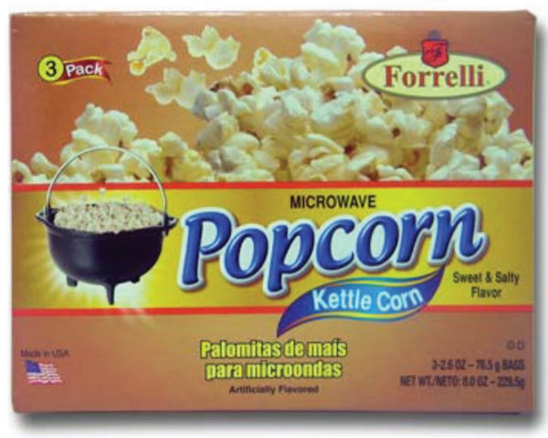 Forrelli Microwave Popcorn, Kettle Corn Sweet & Salty Flavor, 3 Bags of 2.6oz
