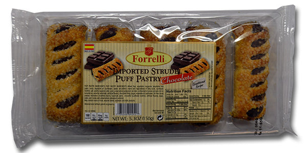 Forrelli Imported Strudel Puff Pastry Chocolate, Made in Spain, 5.3 oz.