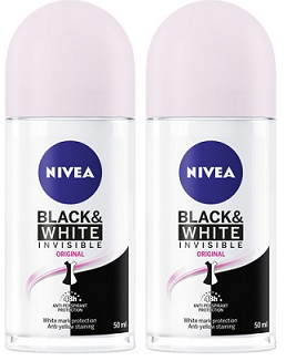 Nivea Black & White Invisible Original Antiperspirant Roll-on, 50ml (Pack of 2)