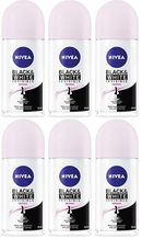 Nivea Black & White Invisible Original Antiperspirant Roll-on, 50ml (Pack of 6)