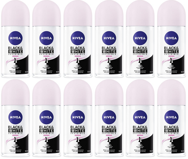 Nivea Black & White Invisible Original Antiperspirant Roll-on, 50ml (Pack of 12)