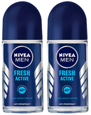 Nivea Fresh Active Antiperspirant Roll-on, 50ml (Pack of 2)
