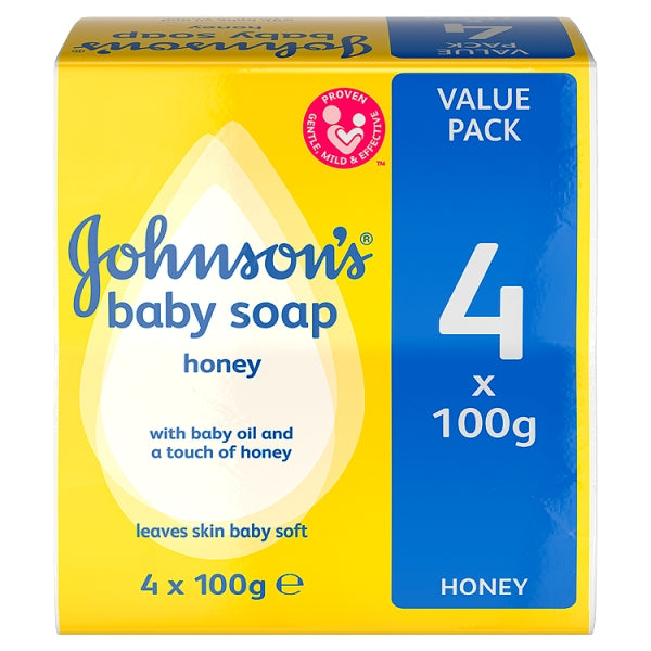 Johnson's Baby Soap Honey, 4 Pack 100g