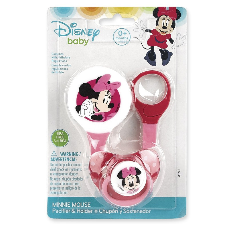 Disney Minnie Mouse Baby Girl Pacifier and Holder, 0+ Months