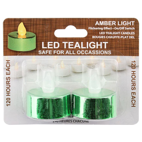 LED Tealight Amber Light, 2 Pack
