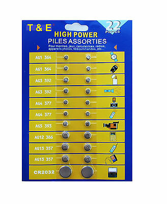 T&E 22 Pieces High Power Assorted Button Batteries, 1 Pack