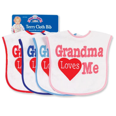 Baby King Grandma Loves Me Bib