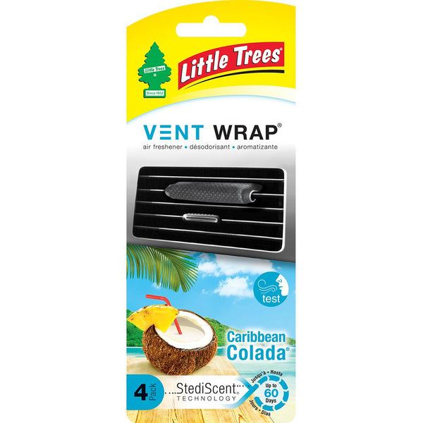 Little Trees Vent Wrap Air Freshener, Caribbean Colada, 4 ct.