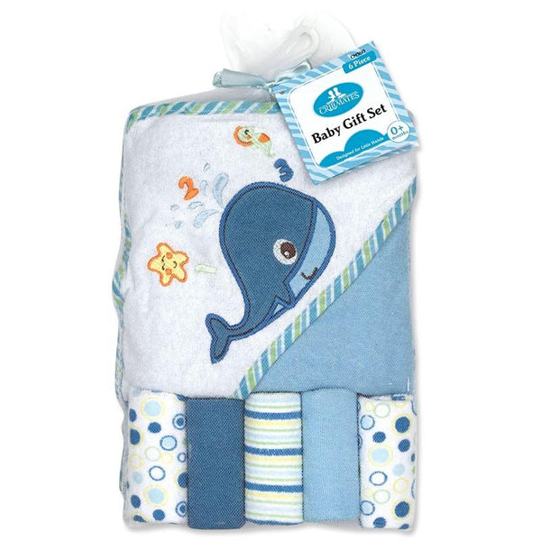 Crib Mates Hooded Towel W/ 5 Washcloths (6 Piece Set)