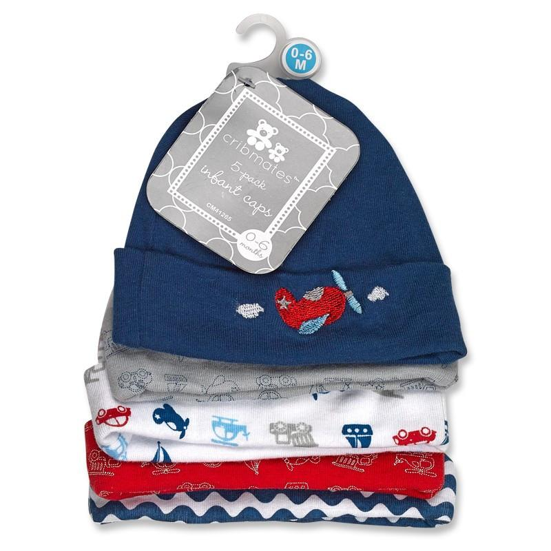 Crib Mates 5 Pack Baby Infant Caps