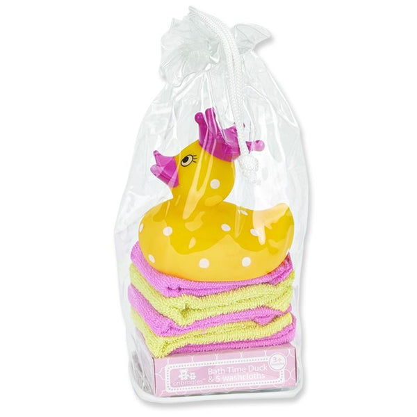 Crib Mates Bath Time Duck & 5 Washcloths