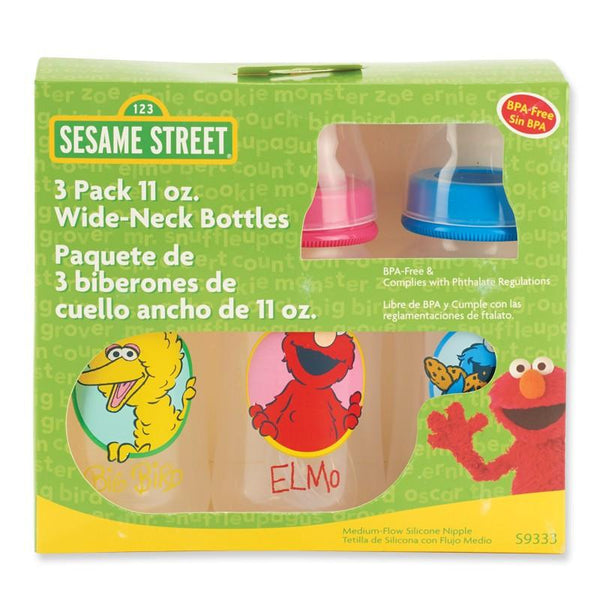 Sesame Street 11 oz. Wide Neck Baby Bottles (3 Pack)