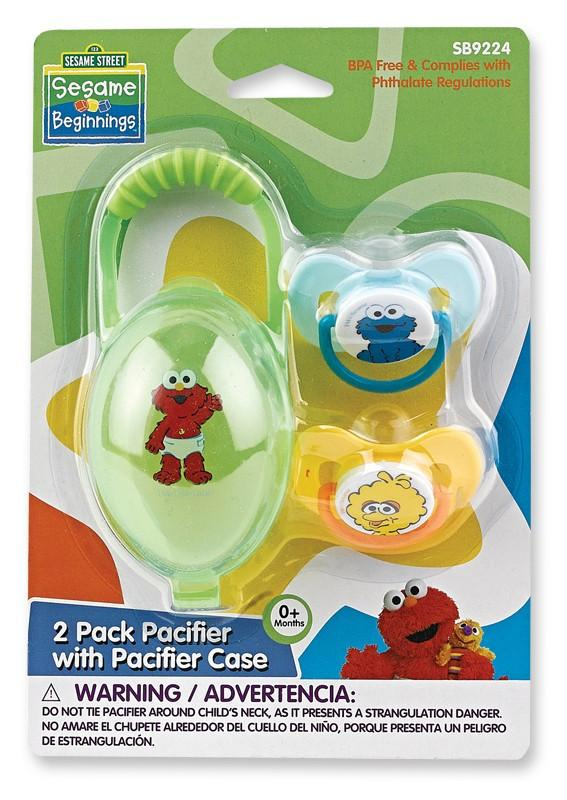 Sesame Street 2pk Pacifier And Case Set