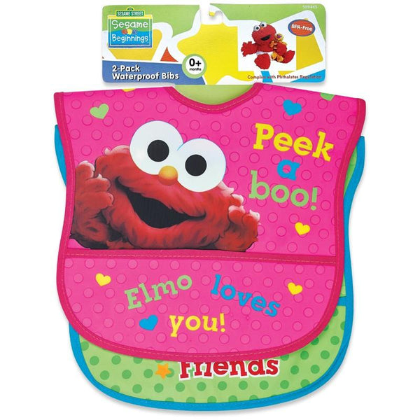 Sesame Street 2pk Waterproof Bib Set