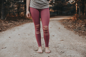 Women's Mauve Slashed Knee Leggings