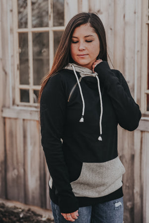 Women's Black Herringbone Doublehood Sweatshirt