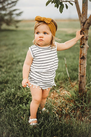 Baby/Toddler Striped Pom Pom Romper